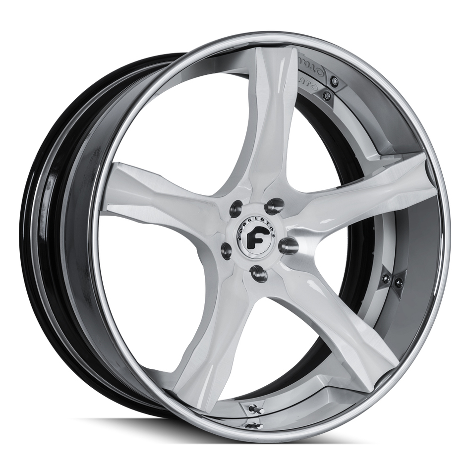 Forgiato Cavita-ECL Brushed and White Center with Chrome Lip Finish Wheels