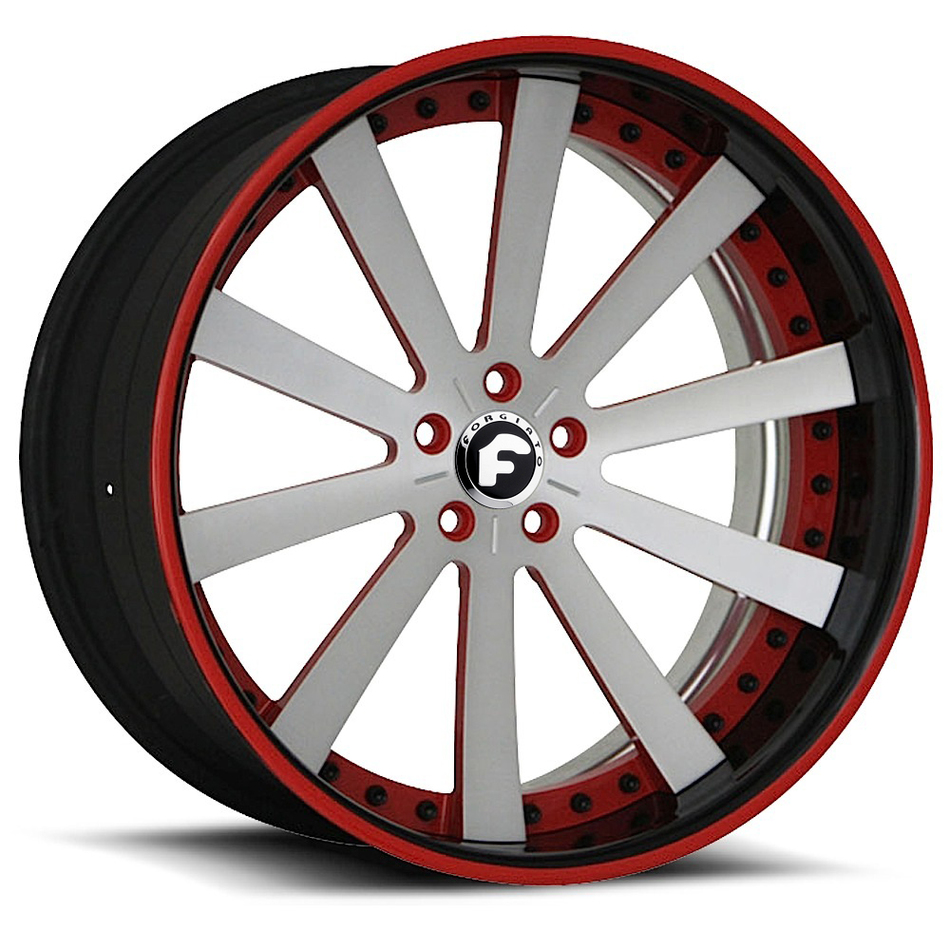 Forgiato Concavo Satin and Red Center with Chrome Lip Finish Wheels