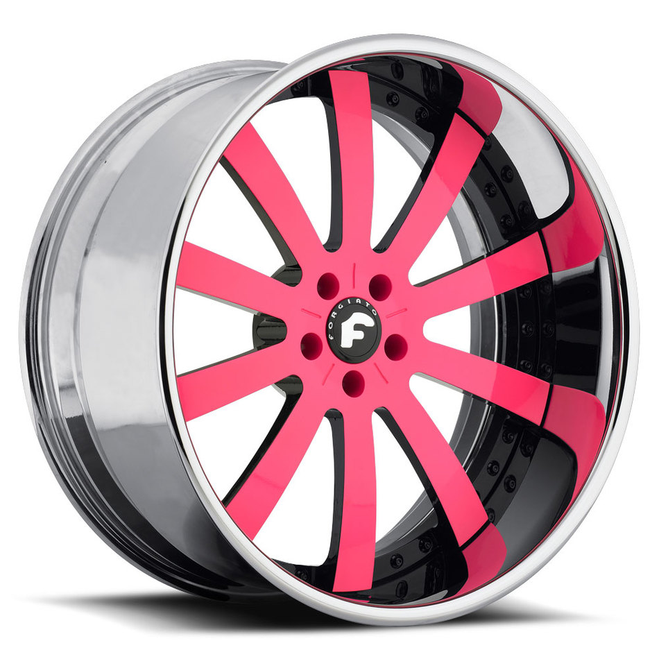 Forgiato Concavo Pink and Black Center with Chrome Lip Finish Wheels