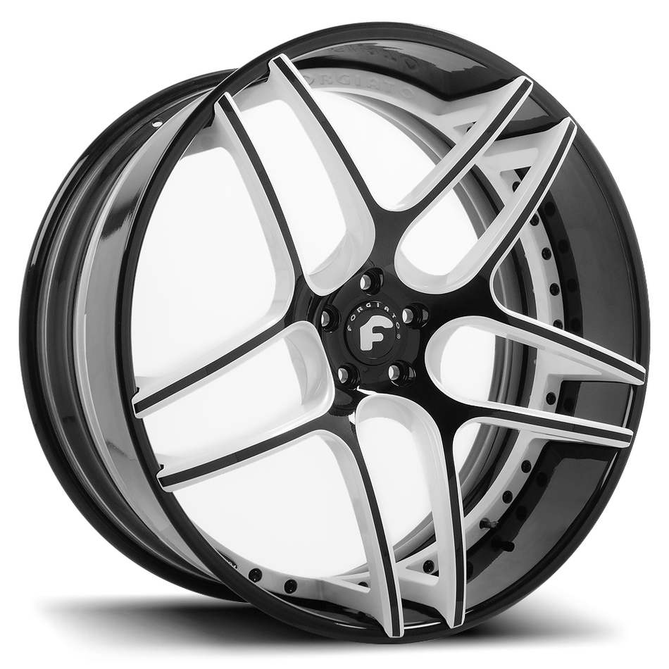 Forgiato Dieci-ECL Black and White Center with Black Lip Finish Wheels
