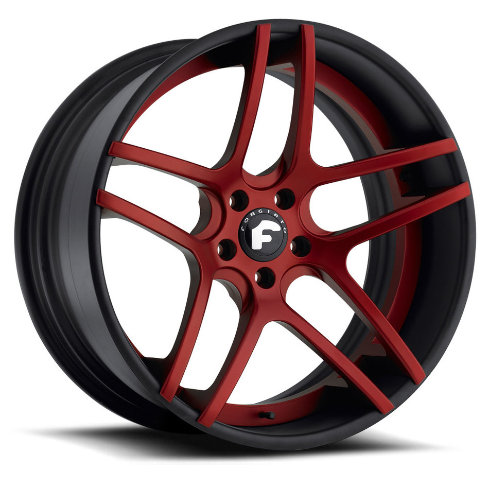 Forgiato Dieci-ECL Red Center with Black Lip Finish Wheels
