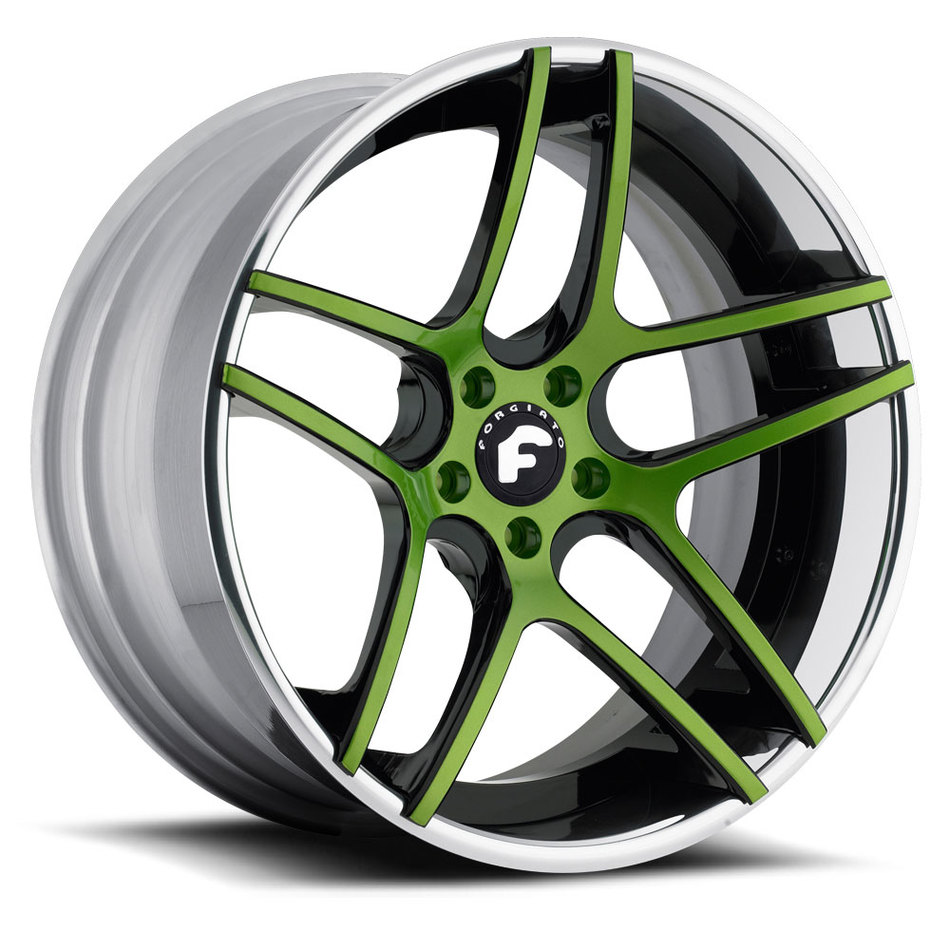 Forgiato Dieci-ECL Green and Black Center with Chrome Lip Finish Wheels