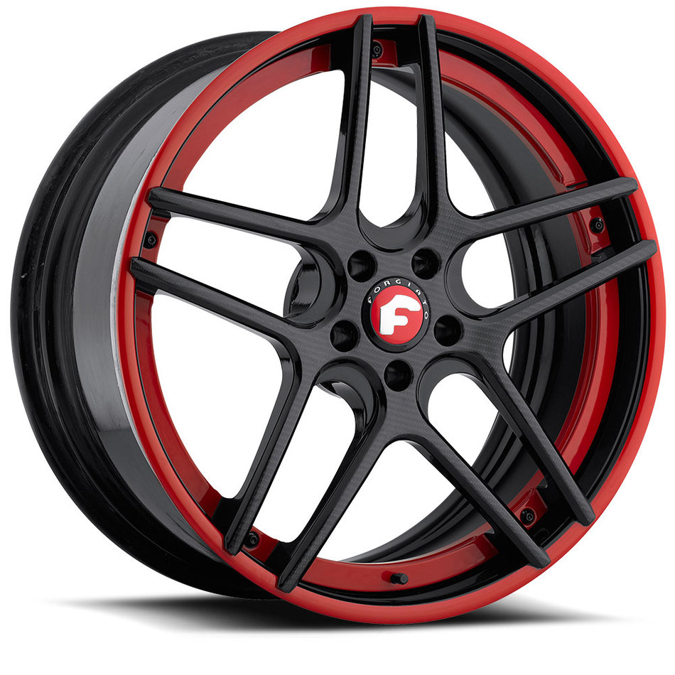 Forgiato Dieci-ECL Carbon Center with Red Lip Finish Wheels