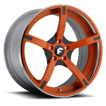 Forgiato Doppio-ECL Orange and Grey Center with Orange and Chrome Lip Finish Wheels