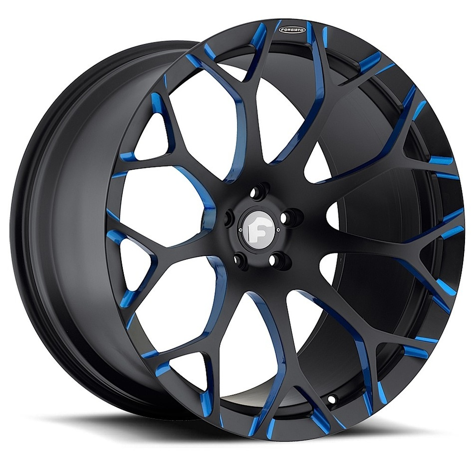 Forgiato Drea-M Black and Blue Finish Wheels