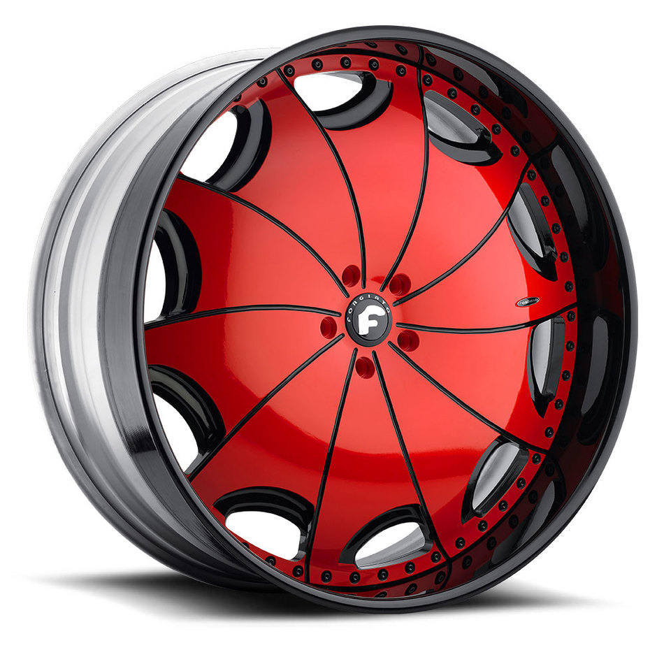 Forgiato Emilano-L Red and Black Center with Black Lip Finish Wheels