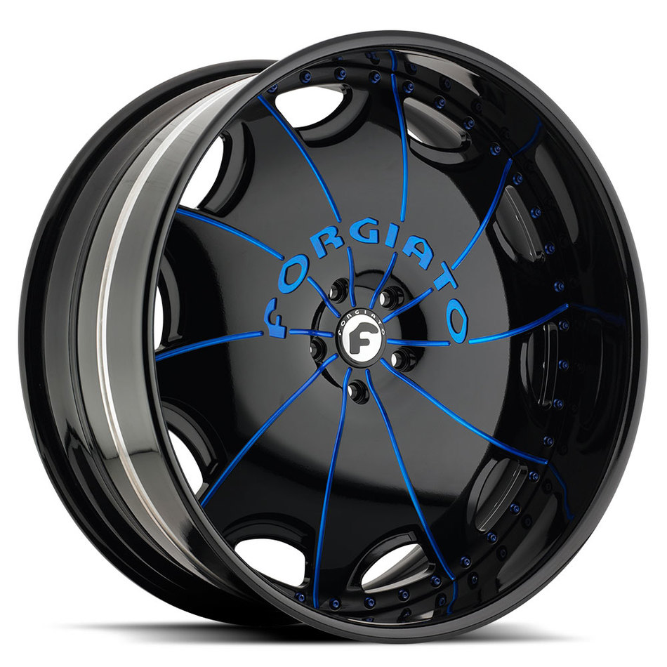Forgiato Emilano-L Black and Blue Center with Black Lip Finish Wheels