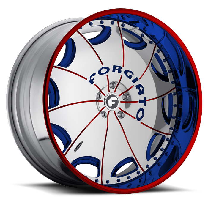 Forgiato Emilano-L Chrome Red and Blue Center with Blue and Red Center Finish Wheels