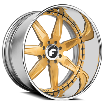 Forgiato Esporre Satin Gold and Chrome Finish Wheels