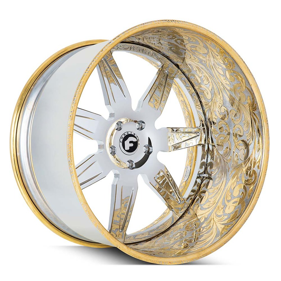 Forgiato Esporre Chrome and Gold Engraved Finish Wheels
