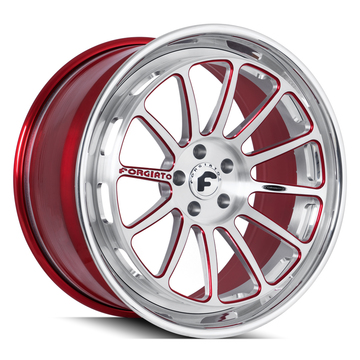 Forgiato Estendere-ECL Brushed, Chrome and Red Finish Wheels