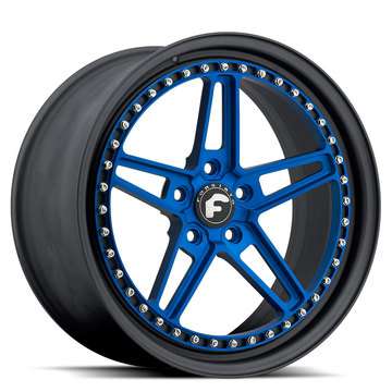 Forgiato F-Cinque Blue Center with Black Lip Finish Wheels