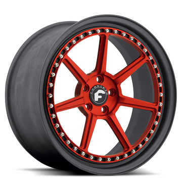 Forgiato F-Sette Red and Black Center with Black Lip Finish Wheels