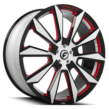 Forgiato F2-04-M Black Red and White Finish Wheels
