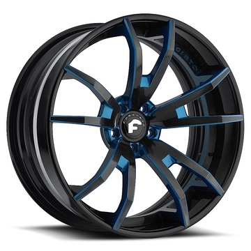 Forgiato F2.01 Black and Blue Center with Black Lip Finish Wheels