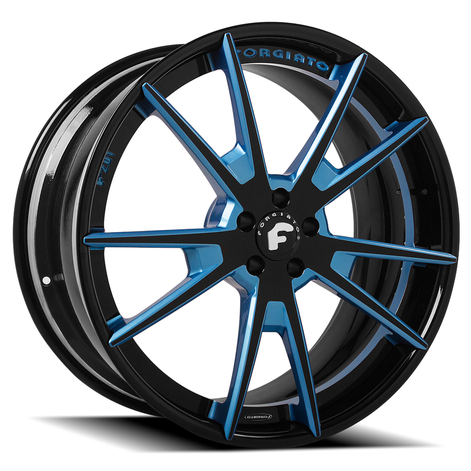 Forgiato F2.01 Blue and Black Center with Black Lip Finish Wheels