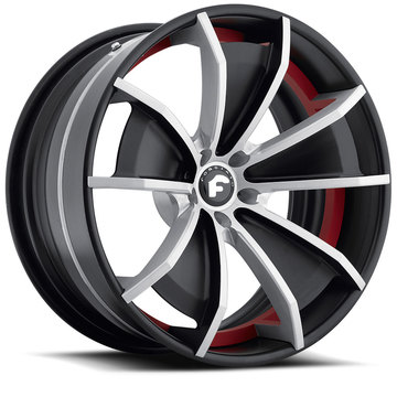 Forgiato F2.02 Satin Black and Red Center with Black Lip Finish Wheels