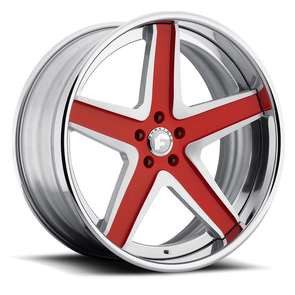 Forgiato F2.03 Red and Satin Center with Chrome Lip Finish Wheels
