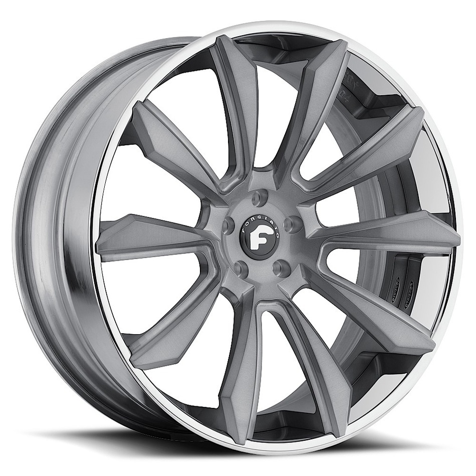 Forgiato F2.04 Grey Center with Chrome Lip Finish Wheels