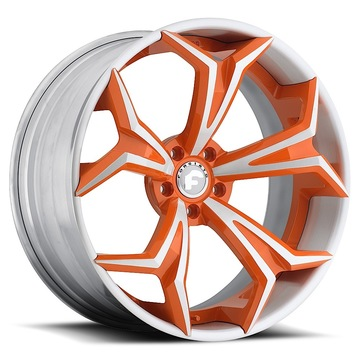 Forgiato F2.09 Orange and White Center with White Lip Finish Wheels