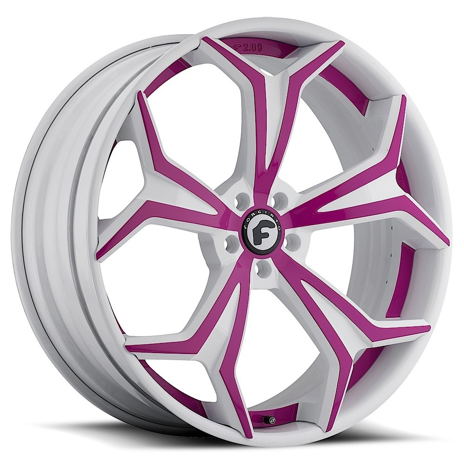 Forgiato F2.09 White and Pink Center with White Lip Finish Wheels