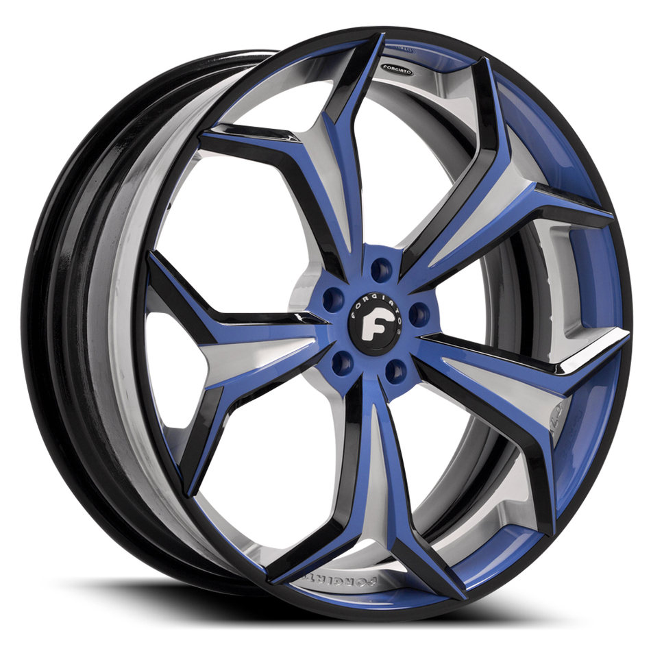Forgiato F2.09 Black and Blue Center with Black and Blue Lip Finish Wheels