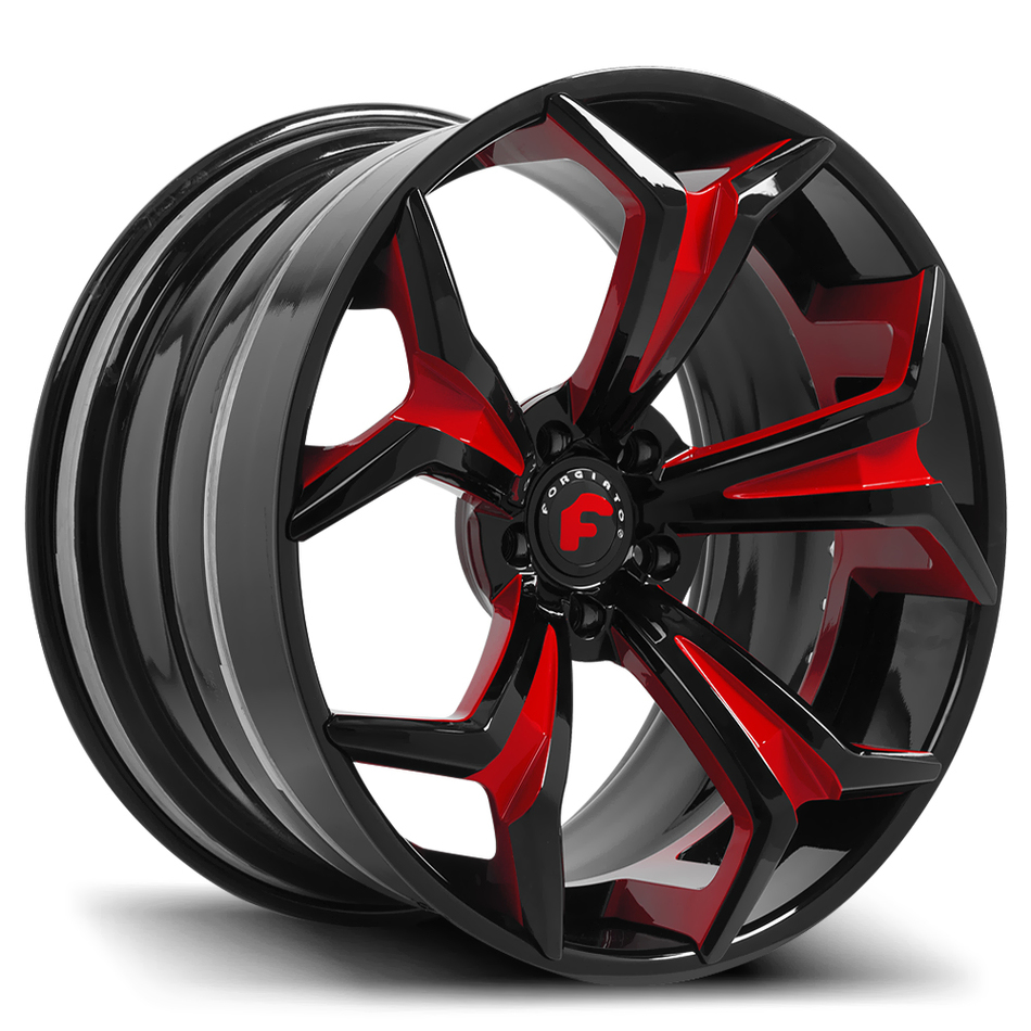 Forgiato F2.09 Black and Red Center with Black Lip Finish Wheels