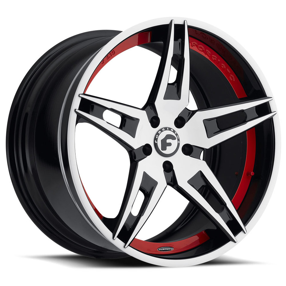 Forgiato F2.10 White Black and Red Center with Black and White Lip Finish Wheels