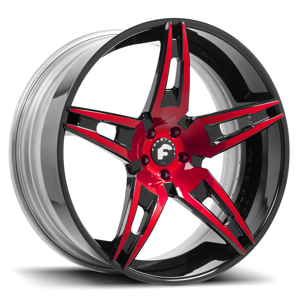 Forgiato F2.10 Red and Black Center with Black Lip Finish Wheels