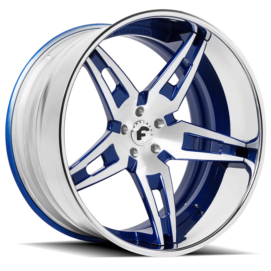 Forgiato F2.10 Satin and Blue Center with Chrome Lip Finish Wheels