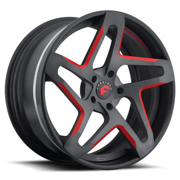 Forgiato F2.11 Black and Red Center with Black Lip Finish Wheels