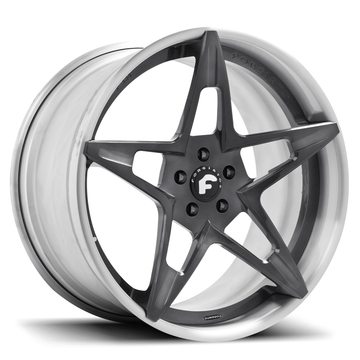 Forgiato F2.14 Grey Center with Satin Lip Finish Wheels