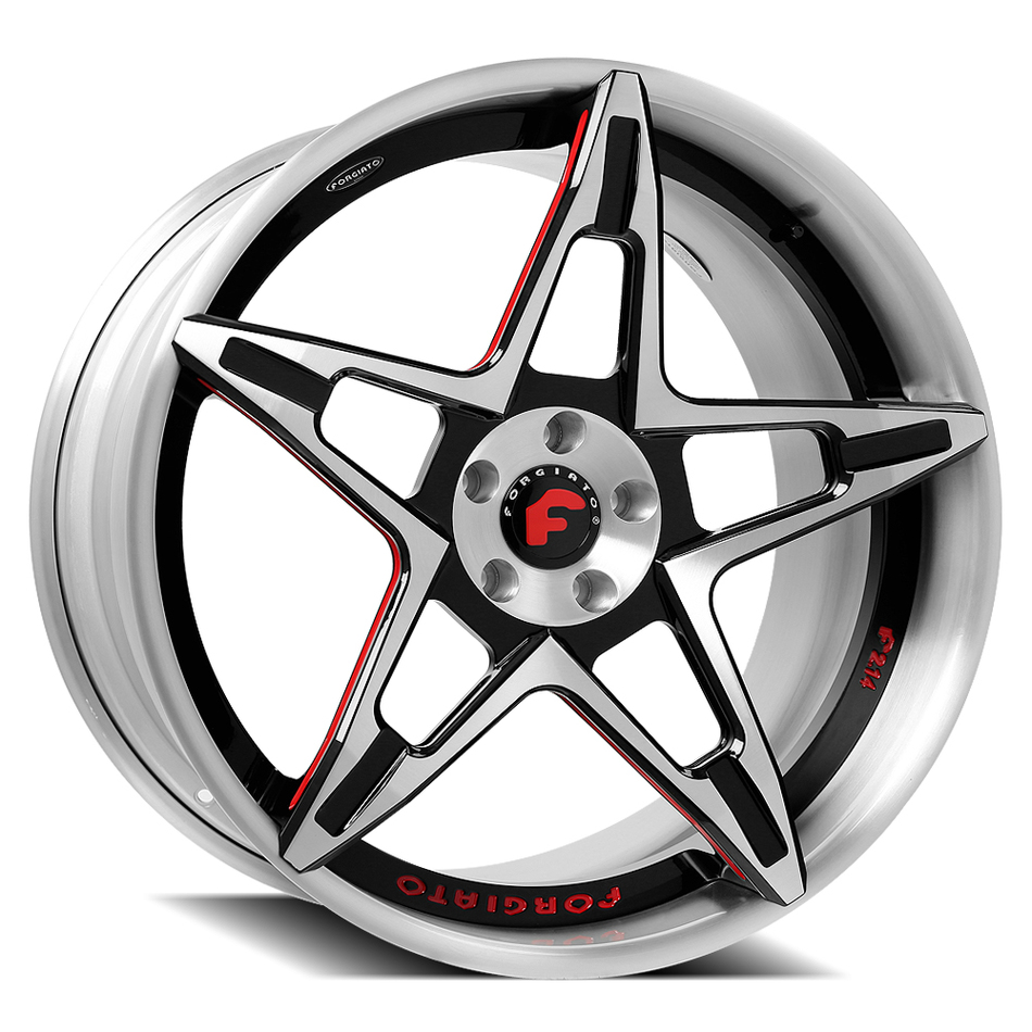 Forgiato F2.14 Brushed Black and Red Center with Satin Lip Finish Wheels