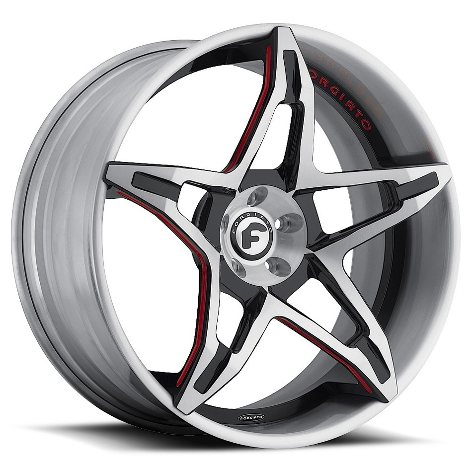 Forgiato F2.14 Satin Black and Red Center with Satin Lip Finish Wheels