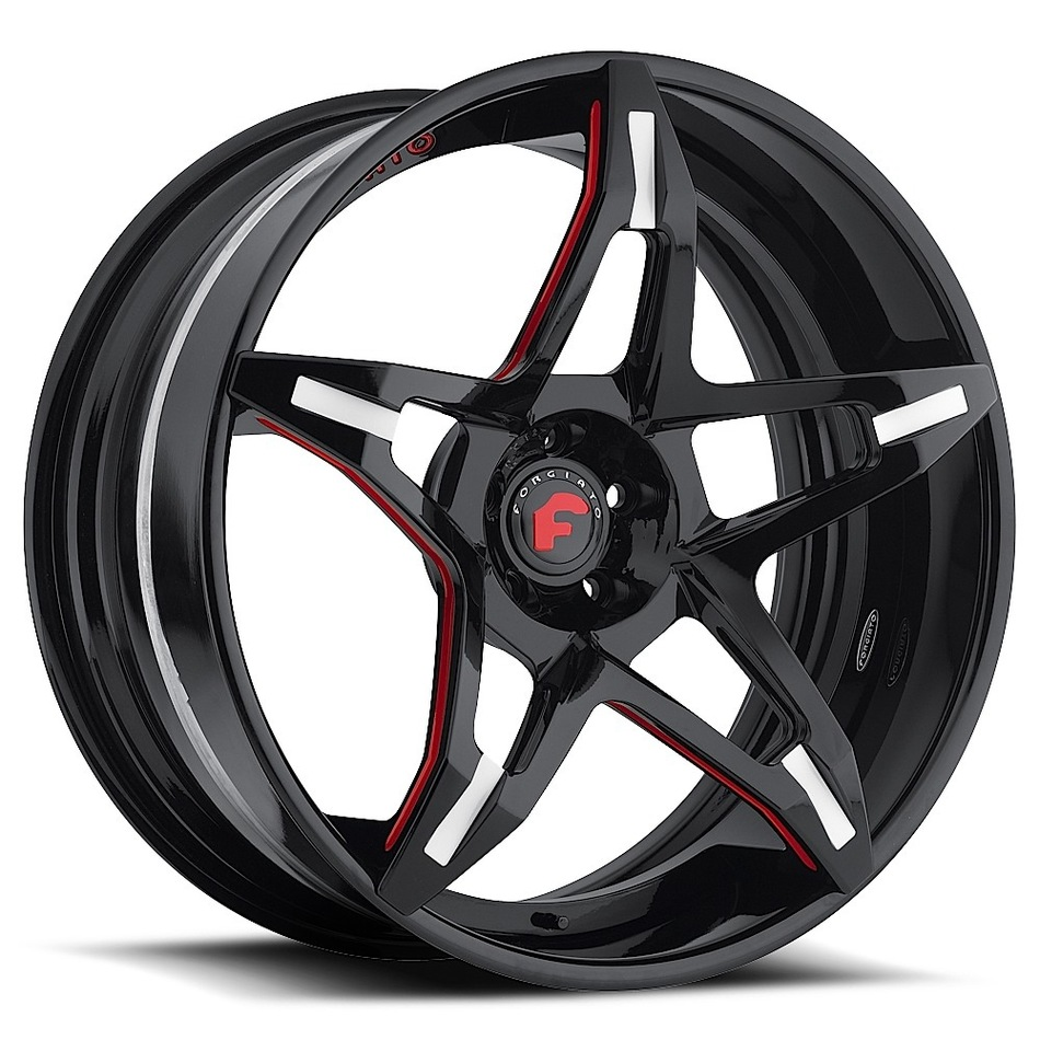 Forgiato F2.14 Black and Red Center with Black Lip Finish Wheels