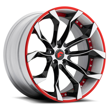 Forgiato F2.16 Black White and Red Center with White and Red Lip Finish Wheels