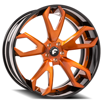 Forgiato F2.19-ECL Orange Center with Black Lip Finish Wheels