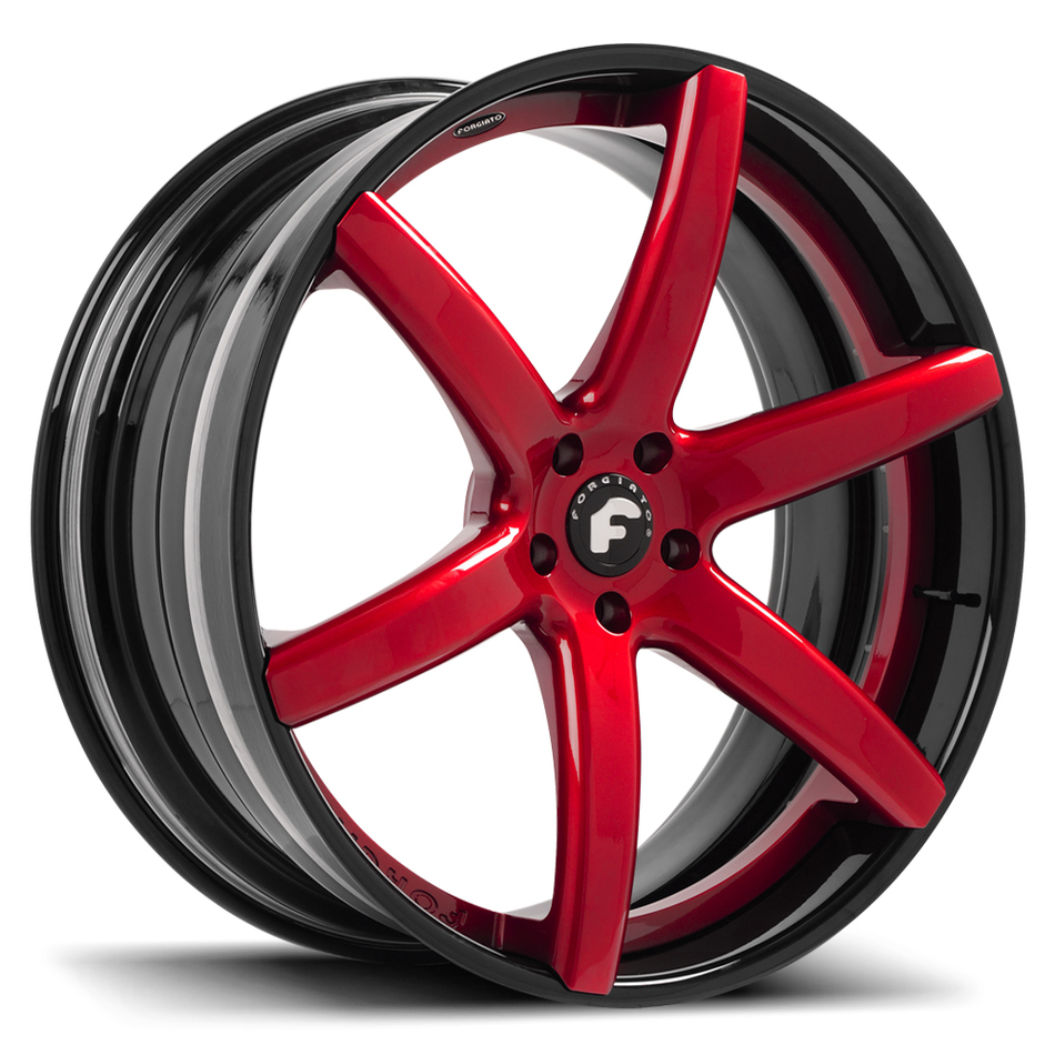Forgiato F2.20 Red Center with Black Lip Finish Wheels
