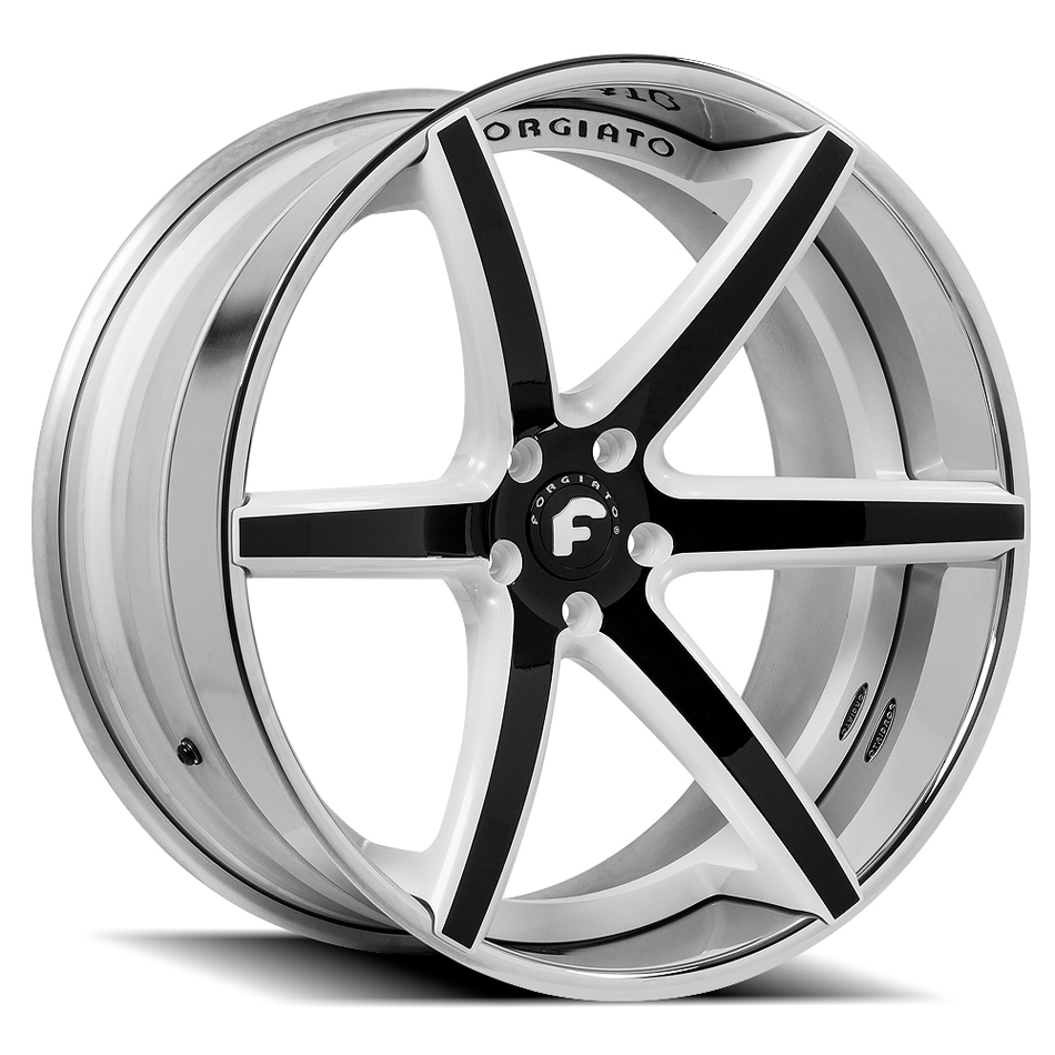 Forgiato F2.20 Black and White Center with Chrome Lip Finish Wheels