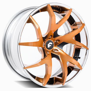 Forgiato F2.23-ECX Orange and Black Center with Chrome Lip Finish Wheels