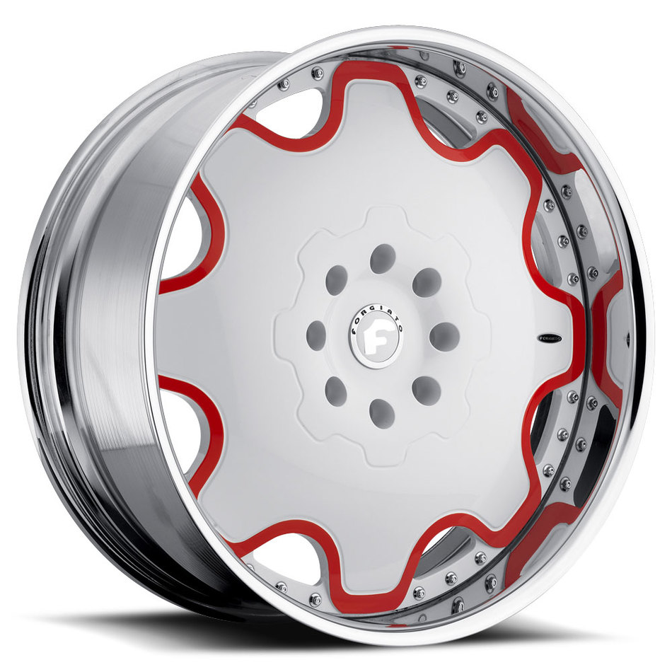 Forgiato Fiore Satin and Red Center with Chrome Lip Finish Wheels