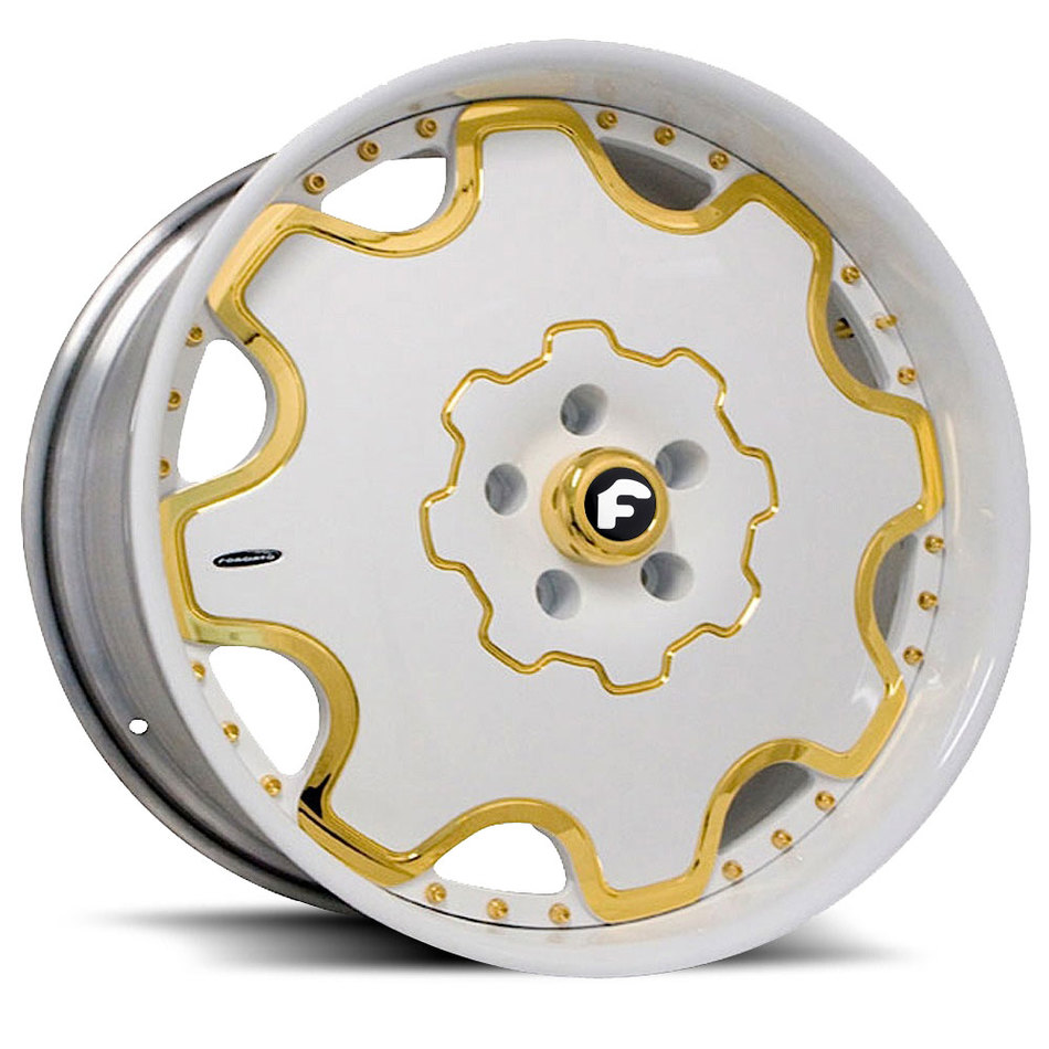 Forgiato Fiore White and Gold Center with White Lip Finish Wheels