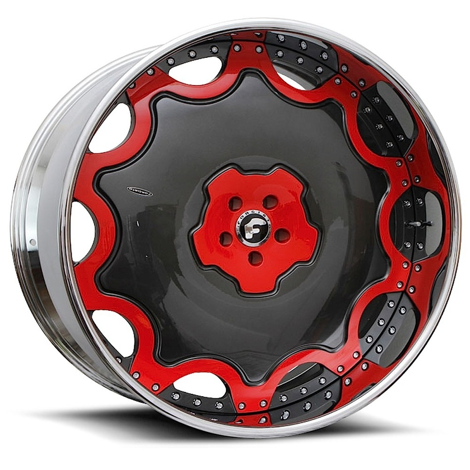 Forgiato Fiore Black and Red Center with Chrome Lip Finish Wheels