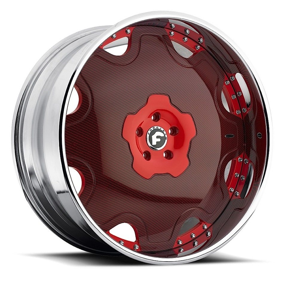 Forgiato Fiore Red Burgandy Center with Chrome Lip Finish Wheels
