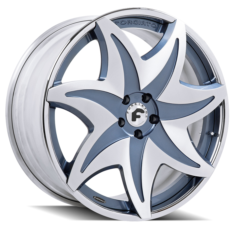 Forgiato Fiorito-ECL Satin and Blue Center with Chrome Lip Finish Wheels
