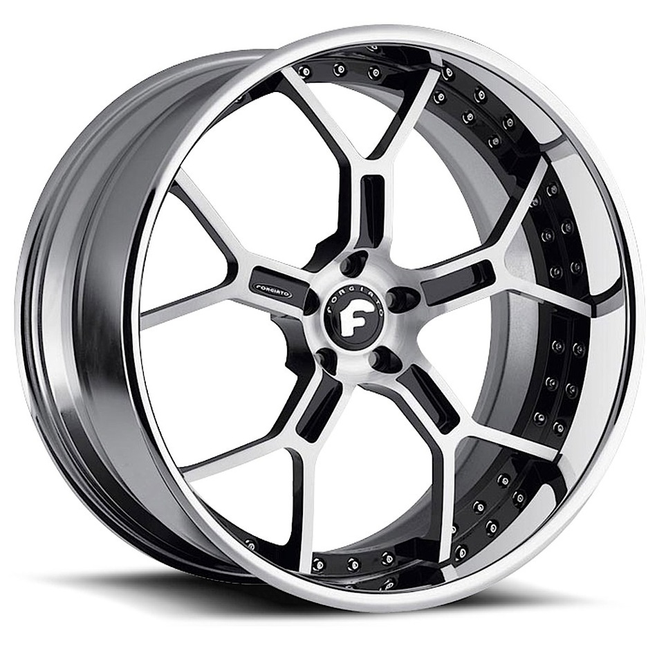Forgiato GTR Silver and Black Center with Chrome Lip Finish Wheels