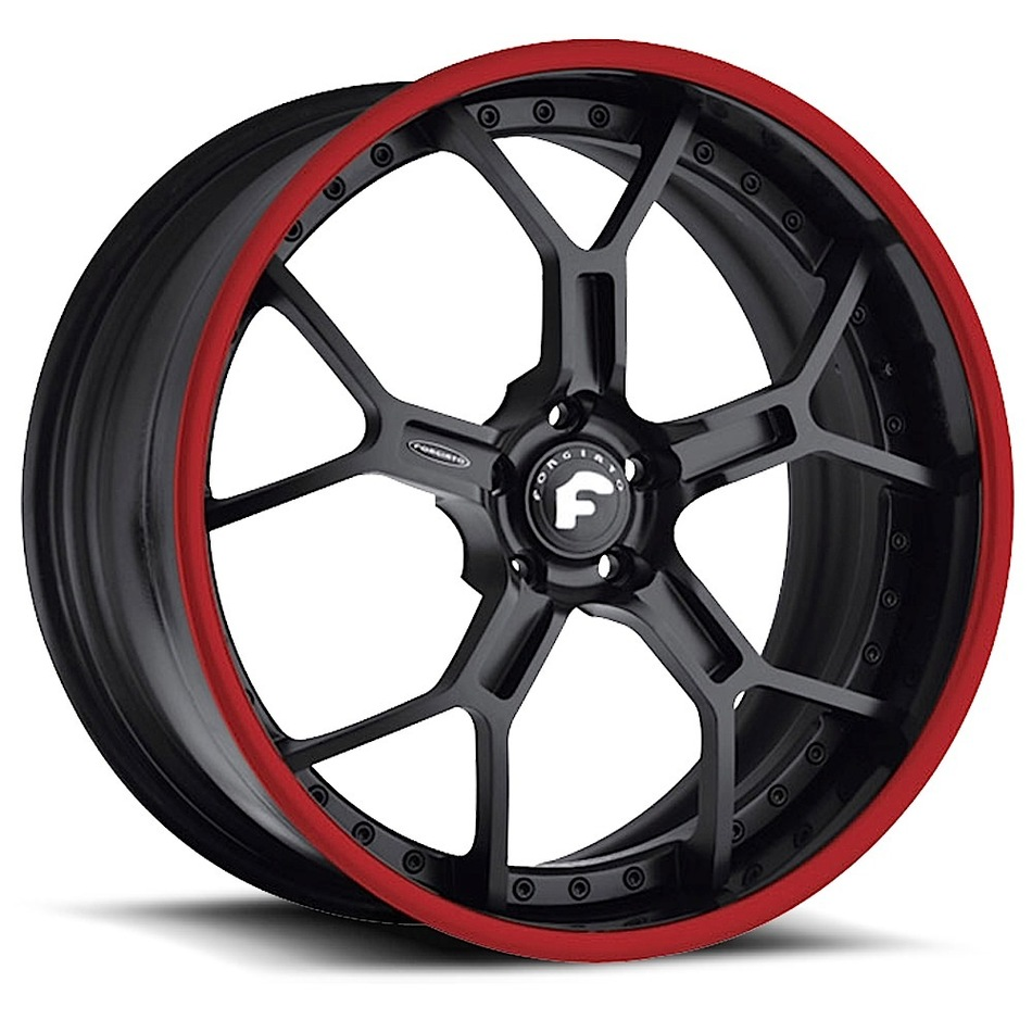 Forgiato GTR Black Center with Black and Red Lip Finish Wheels