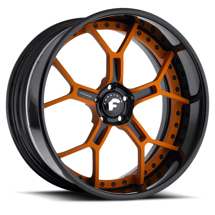 Forgiato GTR Orange and Black Center with Black Lip Finish Wheels