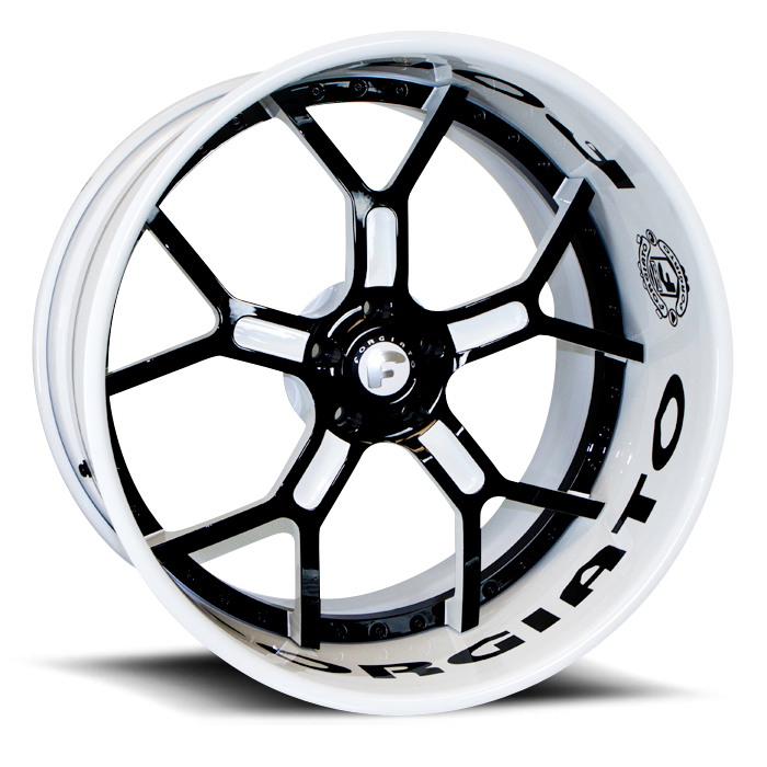 Forgiato GTR Black and White Center with White Lip Finish Wheels