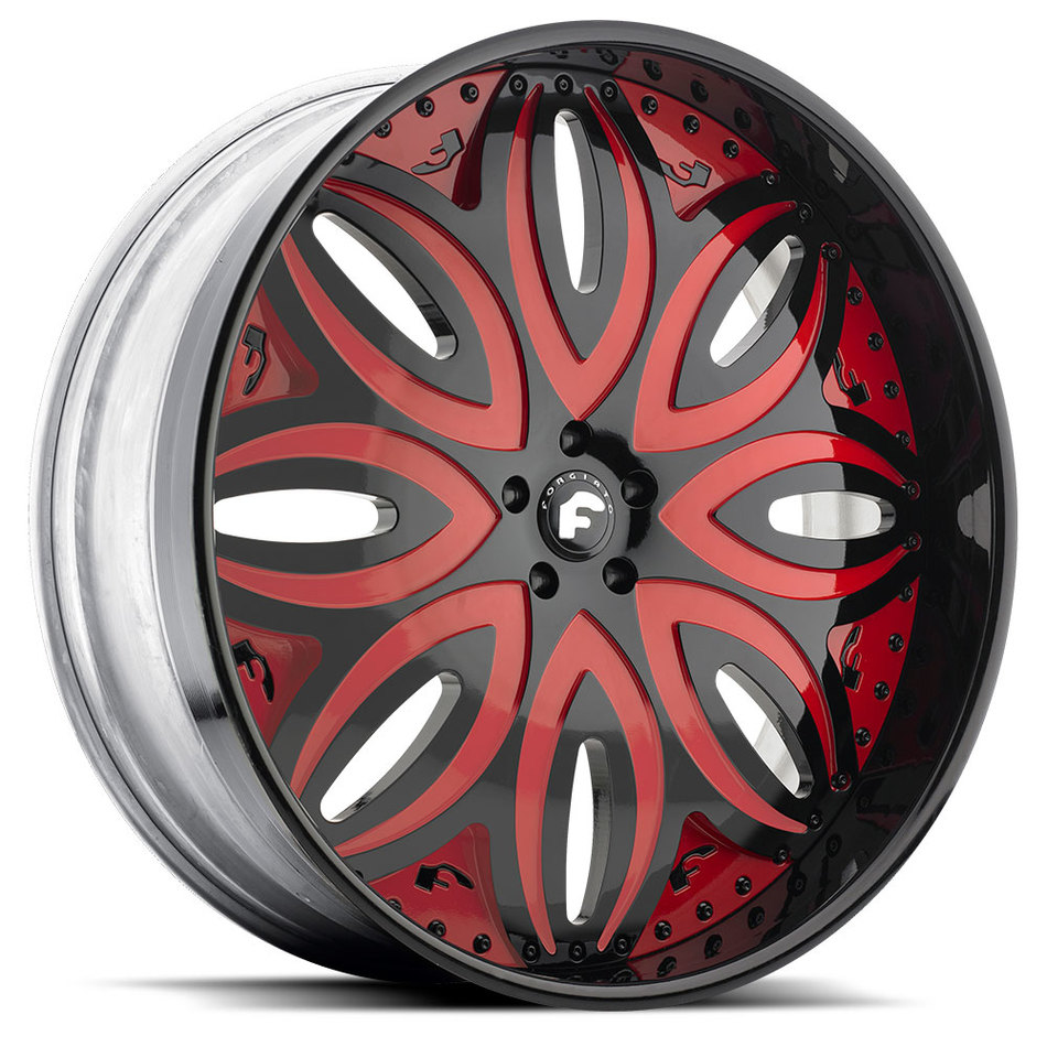 Forgiato Giordano-L Black and Red Center with Black Lip FinishWheels